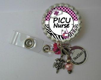 Personalized PICU Nurse Badge Reel-- You choose Charm, nurse id, id tag retractable id, badge holder, badge clip, name badge holder
