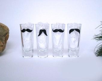 4 Personalized Mustache Shot Glasses - Bachelor Party Shot Glasses - Wedding Party Glasses - Choose Your Mustache Style