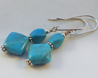 Turquoise and Sterling Silver Earrings, December Birthstone,  Handcrafted Artisan Earring Wires, Silver Bali Beads