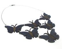 Butterfly Necklace, 4 color options, Dark blue, Wearabble Art, Statement bib, Leather Necklace, Dark Blue, Leather Jewelry,