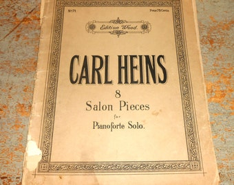 Vintage Music Sheet, Carl Heins, Salon Pieces, Piano, 1920's, Old,  Music Score, Piano Solo, Sheet Music, Piano Music,  Edition Wood No. 71