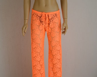 Neon orange crochet lace boho beach pant -Yoga pant-Festival pant-Gypsy pant-Beach lounge pant-Bell Bottoms-Choose Your color!! XS-S-M-L-XL