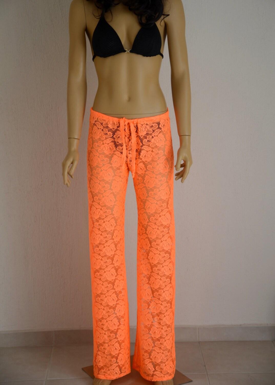 Crochet Pattern Yoga Pants : Neon orange crochet lace boho beach pant Yoga pant-Festival