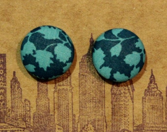 Button Earrings / Fabric Covered / Posts / Teal Blue / Wholesale Jewelry / Leaf / Hypoallergenic / Handmade Gifts / Small / Bridesmaids