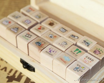 My Today Korean Diary Stamp Set - Rubber Stamp - Wood Stamp - Filofax - Deco Stamp - 21 Pcs