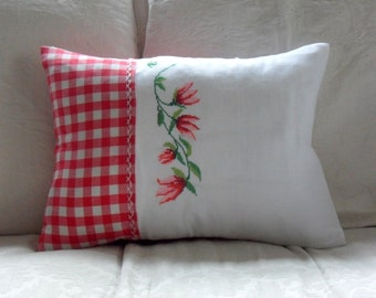 Vintage Embroidery and Red Gingham Cushion Cover