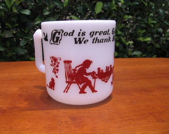 SALE - Vtg HAZEL-ATLAS Red Kiddie Ware Prayer Mug - 1960s