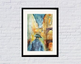Night and Loneliness Watercolor Painting by Faruk Koksal - Print on 290 gr. Textured Fine Art Paper
