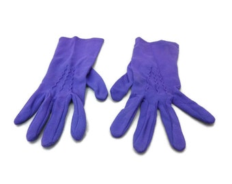 Vintage Purple Nylon Stretch Gloves Wrist Length Medium Size