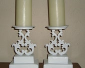 Two Upcycled Ornate Candle Holders - French Country Shabby Chic [C]