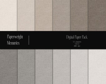 Basic Linen: Beige & Grey - Instant download - Digital Papers - textured paper - CU OK - Digital background