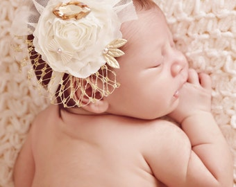 Gold/Ivory Baby Headband, Big Crystal Headband, Elastic Headband, Baby Girl Headband, Great for many Occasions, Photo Prop