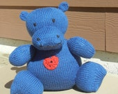 Knitted Hippo, Royal Blue Hippo, Stuffed Animal Toy, Nursery Decor, READY TO SHIP, Soft Plush Toy