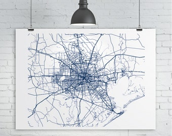Houston Map Print - Custom map of Houston, Texas, Various Sizes & Colors, Map Art Print Poster