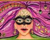Mardi Gras Woman in Mask, New Orleans, Original Painting-- Mardi Gras Muse