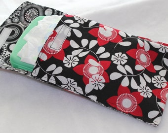 Diaper and Wipe Clutch - Black, White and Red Flowers