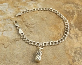 Sterling Silver Pineapple Charm on a Sterling Silver Traditional Charm Bracelet - 3325