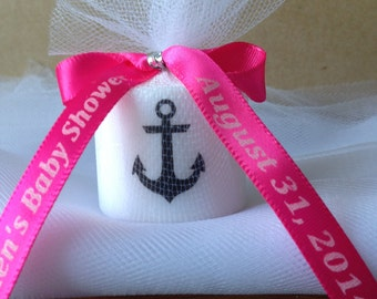 High Quality 25 Nautical Baby Shower, Bridal Shower Favors,Nautical Themed Party Favors,  Anchor Votive Candle, With Personalized Ribbon