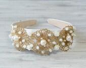 White Gold Bridal Crown , Bridal Lace Crystal Tiara, bridal hair accessories, wedding Embellished headband, Boho Bohemian