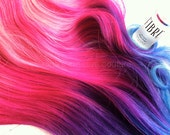 Ombre Clip In Hair Extensions, Vibrant Fucsia Pink, Purple and Blue Hair Extensions, Track hair, Weft Hair, Tie Dye Hair, Studio She
