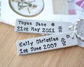 Childrens birth tag keyring