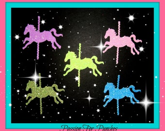 30 Glitter Carousel Horse Die Cuts Punches For Scrapbook Cards Party Confetti Crafts Embellishments Carousel Confetti