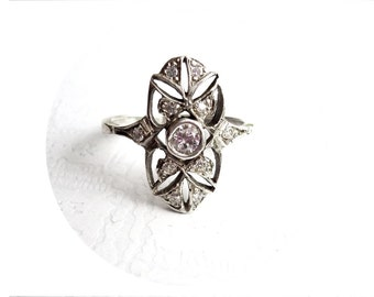 Deco Ring, Art Nouveau Jewelry, Silver Filigree Jewel Ring, for Her, Filigree Engagement Ring, Sterling Silver