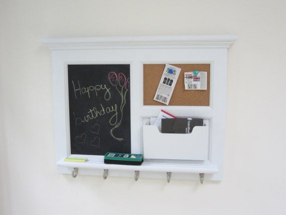 White wall mail organizer magnetic chalkboard by for Wall mail organizer with cork board