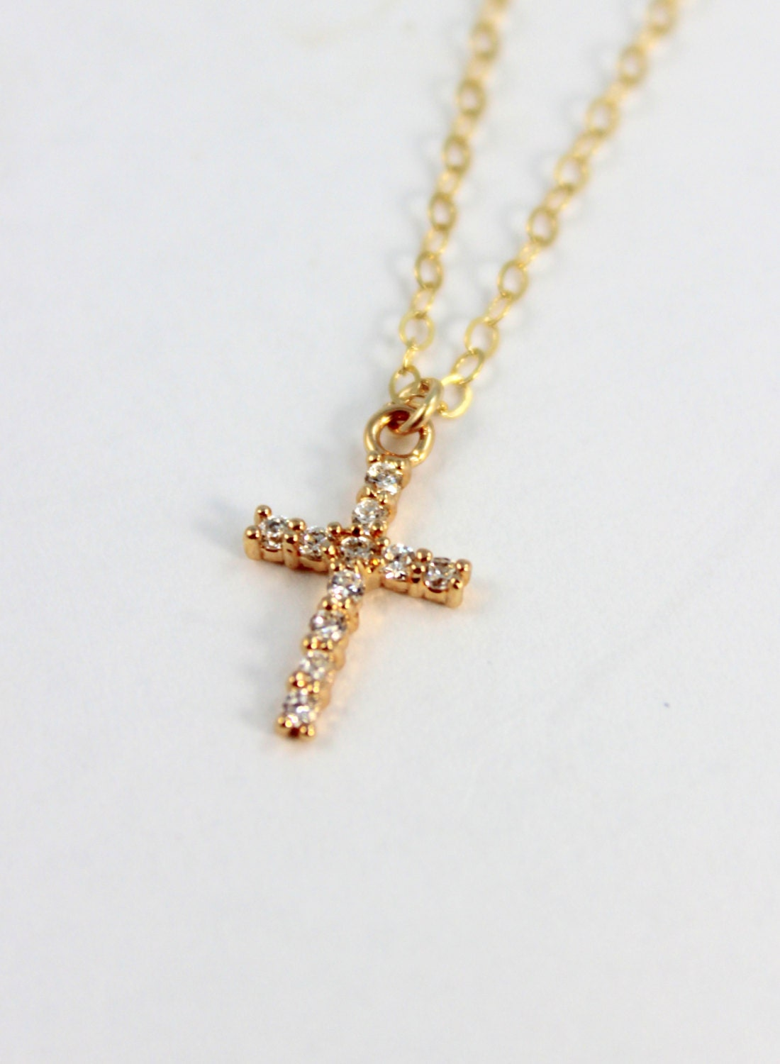 Cross Necklace Women Small Gold Filled by divinitycollection