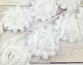 "2.5"" Shabby Rose Trim- White Color-  Chiffon Trim - White Chiffon Flowers - White Shabby Rose Trim -Hair Accessories Supplies"