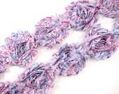 "2.5"" PRINTED Shabby Rose Trim -Pink/Blue Zebra  - Printed Chiffon Trim - Shabby Trim - Hair Accessories Supplies"