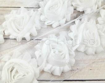 "2.5"" Shabby Rose Trim- White Color-  Chiffon Trim - White Chiffon Flowers - White Shabby Rose Trim -Hair Accessories Supplies"