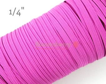 "5 or 10 Yards 1/4"" Skinny Elastic - Fuchsia  Color - Fuchsia Skinny Elastic - Fuchsia Elastic - Skinny Elastic -Hair Accessories Supplies"