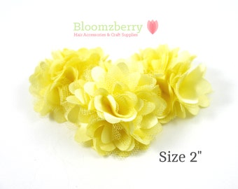 "2"" Silky Satin Mesh Flower - Light Yellow Color - Light Yellow Satin Mesh Flower -Yellow Satin Flowers -  DIY Hair Accessories Supplies"