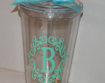 Bridesmaids Gift Personalized  Monogram  tumbler 16oz BPA free- Custom You Choose Colors