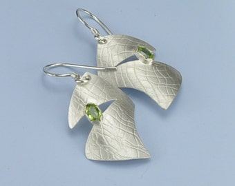 Peridot Silver Earrings, Peridot and Sterling Silver Earrings, Handmade Earrings, Faceted Peridot Earrings, August Birthstone Earrings