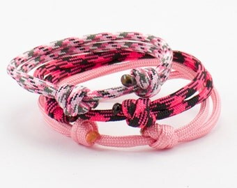 Paracord Bracelet Pink Collection Buy Two Get One Free Minimalist Design