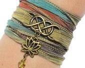 Infinity Bracelet - Silk Wrap Bracelet - Wrap Bracelet - Charm Bracelet - Silk Anniversary Gift - Lotus Bracelet - Eternity Bracelet - Gift
