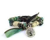 Tree of Life Silk Bracelet Bohemian Yoga Jewelry Spiritual Handmade Earthy Ooak Hemp Yogi Gift For Her Christmas Birthday Under 50 C43
