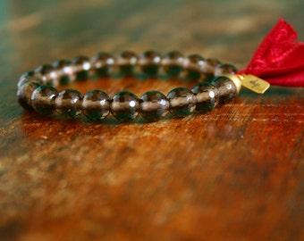 Smoky Quartz Mala Tassel Bracelet Prayer Beads Stretch Beaded Gemstone Mala Beads Yoga Jewelry Spiritual Jewelry Smoky Quartz Bracelet Mala