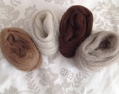50 g or 1.75 oz, 4 x Natural non- dyed wool fibre, Felting wools.