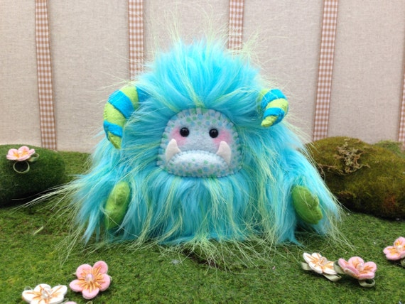 "Yeti artist bear, aqua blue and lime green fur monster plush ""Grimlee"""