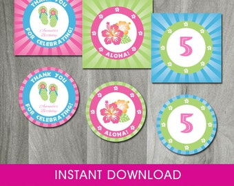 Luau Party, INSTANT DOWNLOAD, Self Editable, Hawaiian Cupcake Toppers,Tags, Hawaiian Party, Party Circles, Printable Tag, Digital Pdf File