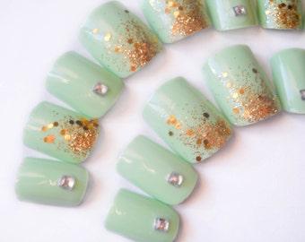 Mint Green Fake Nails, Pastel Nails, Gold, Glitter Nails, 3D Nail Art, Press on Nails, False Nails, Acrylic Nails, Artificial Nails