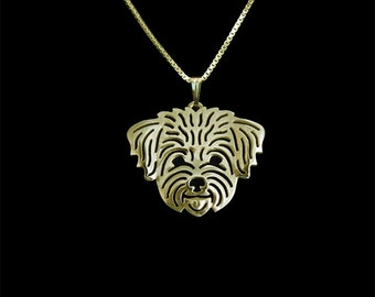 Maltese (in puppy/pet haircut) - Gold pendant and necklace