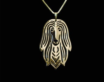 Afghan Hound - Gold pendant and necklace
