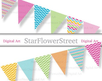 Chevron Bunting Banner party bright colors pink blue turquoise pennant rainbow flags printable digital instant download DIY party decoration