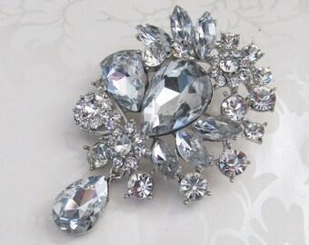 Rhinestone Brooch / Brooch Component  / Sash Brooch / Wedding Brooch / RBR-43 silver