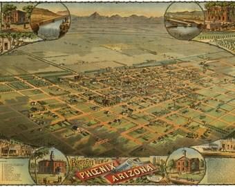 Phoenix Arizona 1885 Bird's Eye View Panoramic Map Digitally Remastered Poster Digital Download