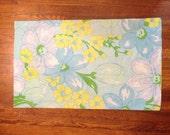 Flower pillow case big bold design vintage linens floral fabric 70s material blue yellow purple